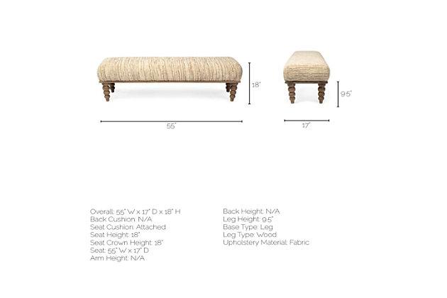 Alder  55 X18 Upholstered Cream Seat Wooden Base Accent Bench, , large