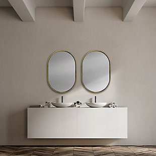 "Mercana  24""X35"" Oval Gold Metal Frame Wall Mirror, , rollover"