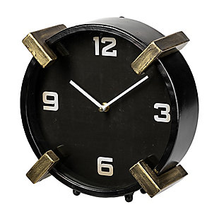 Mercana  Black/Gold Metal Round Table Clock, , large