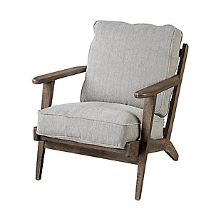 Olympus  Frost Grey Fabric Wrapped Honey Wooden Frame Accent Chair, , large