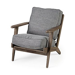 Olympus  Castlerock Grey Fabric Wrapped Medium Brown Wooden Frame Accent Chair, , large