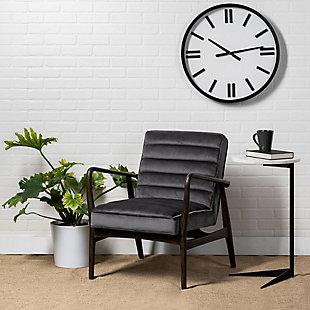 Ajax  Gray Velvet Wrapped Dark Brown Wooden Frame Accent Chair, , rollover