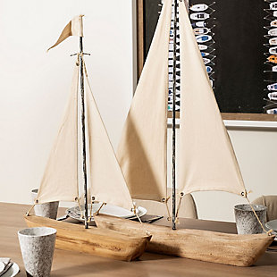"""Mercana  (21""""H) Nautical Inspired Sailboat In Natural Brown, , rollover"""