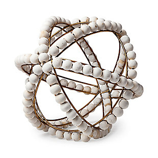 Mercana  Decorative Metal Orb With Wooden Bead Details In Whitewash, , rollover