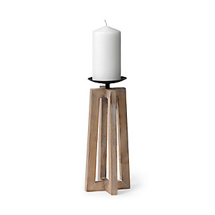 Mercana  Large Light Brown Wood Pedestal Base Table Candle Holder, , large