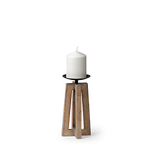 Mercana  Small Light Brown Wood Pedestal Base Table Candle Holder, , large