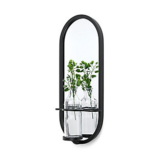 Mercana  Wall Mounted Mirror W/Glass Bottle For Botanicals Or Floral, , large