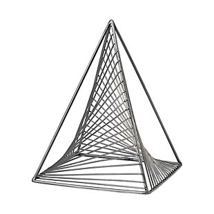 "Mercana  (10.6"") Metal Triangluar Decorative Object In Gun Metal Gray, , large"