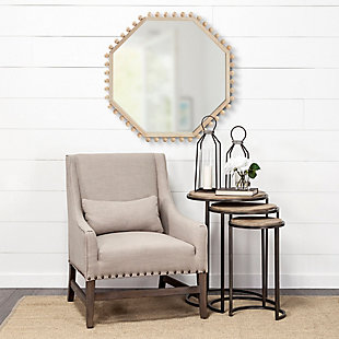 "Mercana  32"" Octagon Natural Wood Frame Mirror, , rollover"