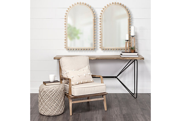 Mercana  22X35 Arch Natural Wood Frame Mirror, , large
