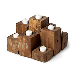 Mercana  Light Brown Nine Wood Block Table Candle Holder, , large