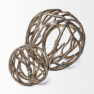 """Mercana  (4.8"""") Cast Aluminum Decorative Tree Branch Orb In Rustic Gold, , large"""