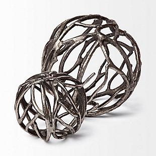 """Mercana  (Large) (7"""") Cast Aluminum Decorative Tree Branch Orb In Rustic Silver, , large"""