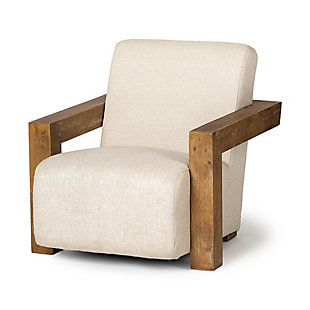Sovereign  Cream Fabric Seat And Natural Wood Frame Accent Chair, , large