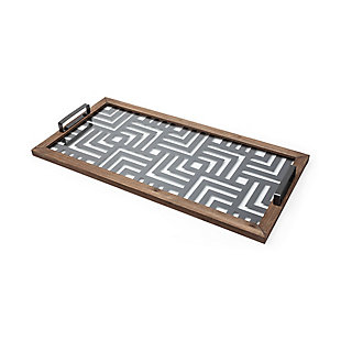 Mercana  Grey Metal Wood And Glass Serving Tray, , large