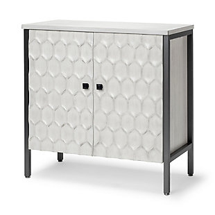 Savannah  31.5L X 15.7W X 31.5H White Wood And Iron Two Door Accent Cabinet, , large