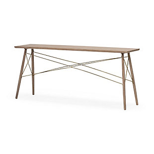 Kirby 66 X 28.8 Medium Brown Wooden Cross-Braced Console Table, , large