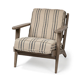 Olympus Striped Light Brown Fabric Wrapped Wooden Frame Accent Chair, , large