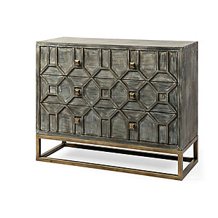 Genevieve  39L X 15.7W X 30.9H Brown Solid Wood And Brass Three Drawer Accent Cabinet, , large