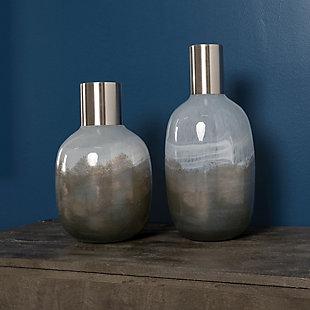 Mercana Short Gradient Blue Glass Gourd Style Vase, , rollover