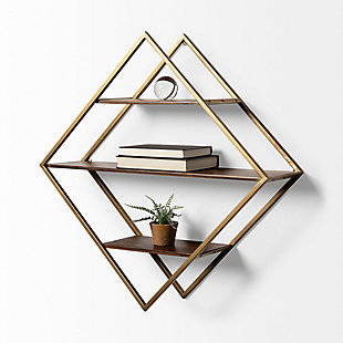 Mercana Diamond Shape Wall Mounted Brass Frame W/Three Wood Wall Shelves, , rollover
