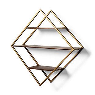Mercana Diamond Shape Wall Mounted Brass Frame W/Three Wood Wall Shelves, , large