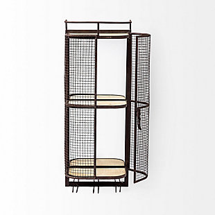 Mercana Wall Mounted Metal Mesh Cage 2 Wooden Shelves And Storage For 6 Stemmed Glasses., , rollover