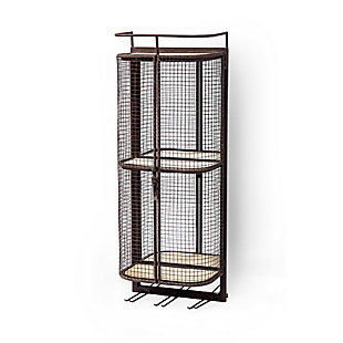 Mercana Wall Mounted Metal Mesh Cage 2 Wooden Shelves And Storage For 6 Stemmed Glasses., , large