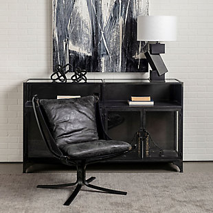 Colarado  Black Leather Suspended Seat W/Iron Frame Accent Chair, , rollover