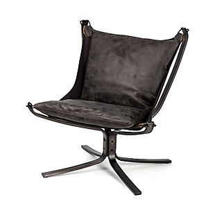 Colarado  Black Leather Suspended Seat W/Iron Frame Accent Chair, , large
