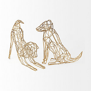 Mercana  Wire-Framed Dog Shaped Décor In Gold Finish, , rollover