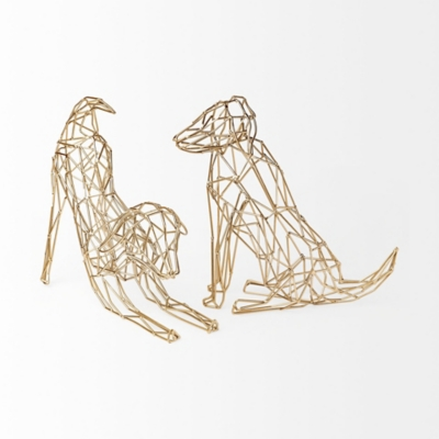 Mercana  Wire-Framed Dog Shaped Decor In Gold Finish, , large