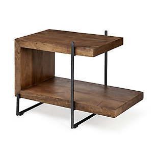 Maddox  30L x 17.5W x 22H U-Shaped Medium Brown Wood Black Iron End/Side Table, , large