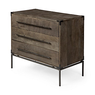 Ward  34L X 18W X 30.5H Dark Brown Wood And Iron Three Drawer Accent Cabinet, , large