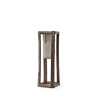 Mercana  Small Walnut Wood And Mesh Metal Table Candle Holder, , large