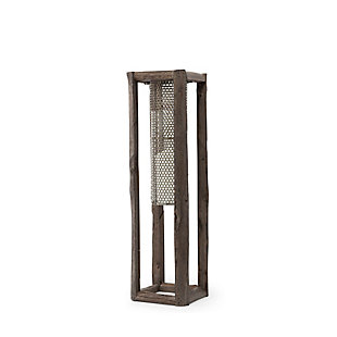Mercana Medium Walnut Wood And Mesh Metal Table Candle Holder, , large