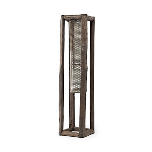 Mercana  Large Walnut Wood And Mesh Metal Table Candle Holder, , large