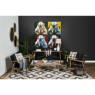 Phineas  Black Leather Wrapped Ash Wood Frame Accent Chair, , rollover