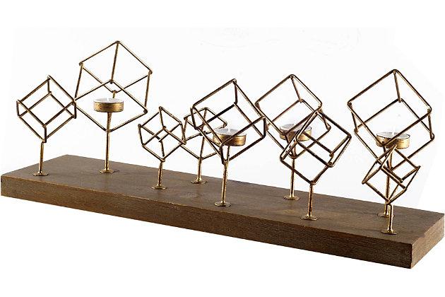 Mercana  Wood Base Brass Cube Tea Light Table Candle Holder, , large