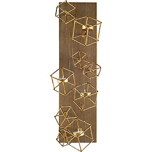 "Mercana  22""H Wood Based Brass Metal Cube Wall Candle Holder, , large"