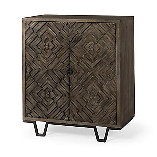 Argyle 36L X 16W X 40H Dark Brown And Metal Two Door Accent Cabinet, , large