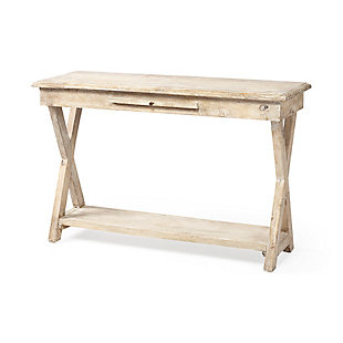 Claremont  16L X 47W X 30H Natural Wood Body W/Pull Out Ledge Console Table, , large
