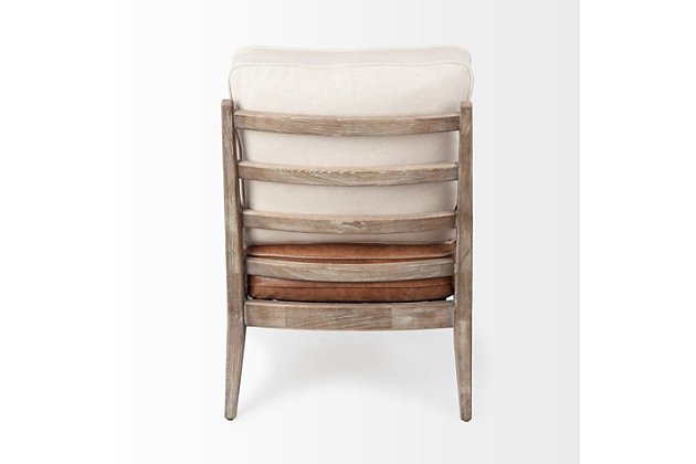 Harmen off-White Fabric And Brown Leather Seat Accent Chair, , large