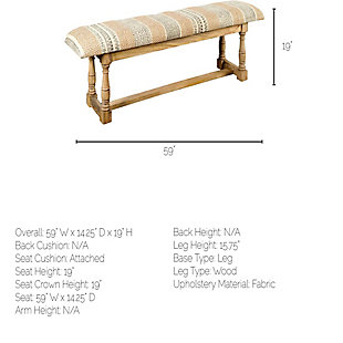 Greenfield  59x19 Patterned Brown/Orange Upholstered Wood Frame Accent Bench, , large