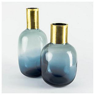 Mercana  Short Blue Glass Antiqued Brass Bottom Vase, , rollover