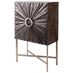 "Apollo  50"" H  Dark Brown Wood Brass Frame W/Sunburst Pattern Storage Cabinet, , large"