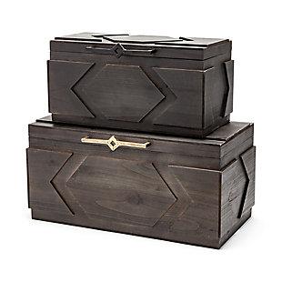 Mercana  Set of Two Dark Stained Wooden Boxes, , large