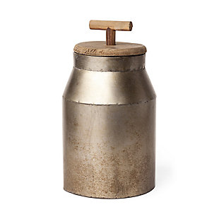 Mercana  Large Gray Metal Decorative Milk Container, , large