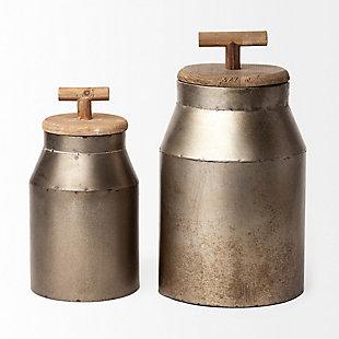 Mercana  Large Gray Metal Decorative Milk Container, , large