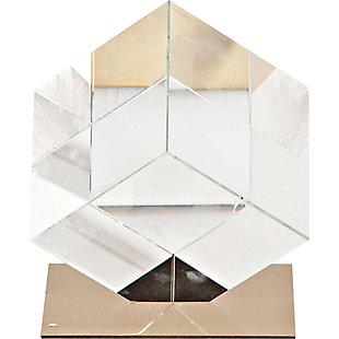 Mercana Large Glass Cube Sculpture, , large